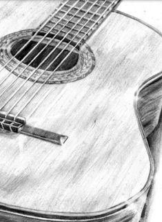 guitar in pencil drawing