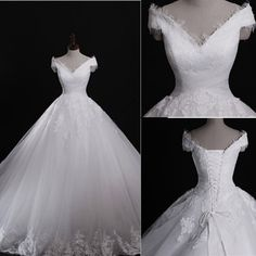 Classic Style Off Shoulder Lace Up Vantage Lace Wedding Dresses, WD0180