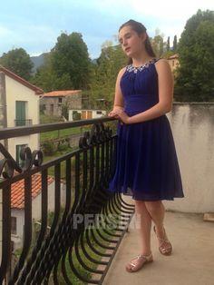 Avis client : robe bleu courte col orné de strass High Low, Client, Rose Vintage, Bustier, Dresses, Queen, Fashion, Brown Dress, Blue Party Dress