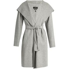 Weekend Max Mara Harlem coat ($647) ❤ liked on Polyvore featuring outerwear, coats, 2016 coat, jackets, light grey, weekend max mara, wool blend coat, reversible coat, hooded coat and weekend max mara coat