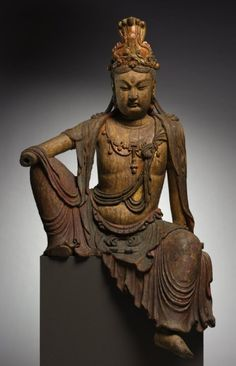 Seated Guanyin, late 1100s-1200s, China, late Northern Song dynasty (960-1127) - Jin dynasty (1115-1234), wood with polychromy and gilding, Overall - h:138.00 cm (h:54 5/16 inches). Purchase from the J. H. Wade Fund 1984.70, Cleveland Museum of Art