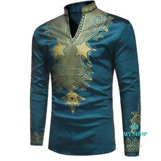 African Fashion Dashiki Stand Collar African Print Luxury Mens Shirt We Offer Top Good Quality Cheap Clothes For Women And Men Clothing Wholesaler, Get Affordable Clothing At Worldwide. African Dresses Men, African Shirts, African Wear, African Style, African Outfits, African American Fashion, Style Africain, Outfits Casual, Men's T Shirts