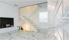Witte stalen trap met glazen treden en strakke leuning van het Belgische merk Genico. Foto's van Alexander Meeus!
