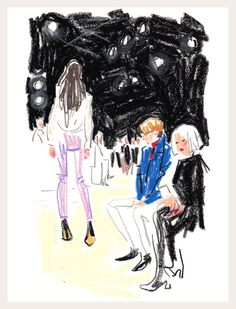 Who: Carven, look 3 (as viewed by Linda Fargo and Ken Downing) Where: Jardin des Tuileries Illustration by Damien Florébert Cuypers