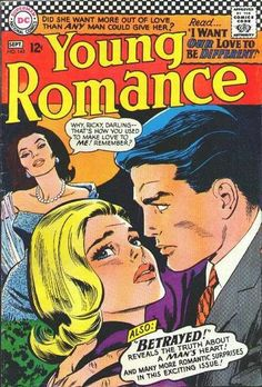 Cover for Young Romance (DC, 1963 series) Free Comic Books, Comic Book Covers, Archie Comics, Dc Comics, Father Knows Best, True Romance, Romance Art, Vintage Romance, Romance Comics