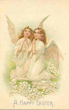 Easter Angels Vintage Post Card