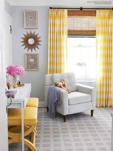 Gray and yellow modern living room - bhgrelife.com