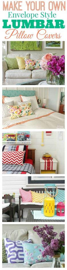 Make Your Own Envelope Style Lumbar Pillow Covers - full tutorial at The Happy Housie
