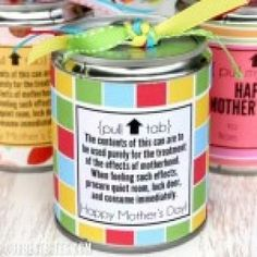 -Tin Can gift for mothers day tutorial (made from a can of fruit. Fill with candy)