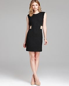 Rebecca Taylor Dress Boucle Sheath with Leather Trim