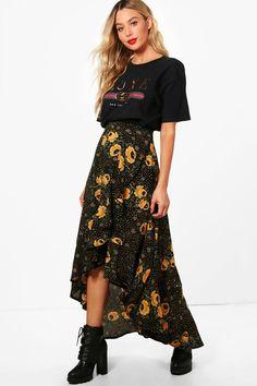 c4dfd74c Lauren Woven Floral Frill And Wrap Midi Skirt Midi Wrap Skirt, White Midi  Skirt,