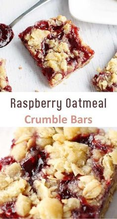 Raspberry Oatmeal Crumble Bars These Raspberry Oatmeal Crumble Bars are incredible! A delicious buttery, oatmeal crust, a sweet raspberry layer and topped with delicious oatmeal crumble. - List of the 25 Best Oatmeal Crumble Recipes Gourmet Recipes, Baking Recipes, Cake Recipes, Dessert Recipes, Healthy Recipes, Eat Healthy, Paleo Dessert, Dinner Recipes, Drink Recipes