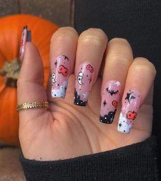 Cute Halloween Nails, Halloween Acrylic Nails, Halloween Nail Designs, Acrylic Nails Coffin Short, Fall Acrylic Nails, Spooky Halloween, Holloween Nails, Birthday Nail Designs, Birthday Nails