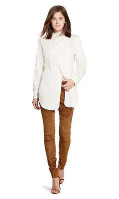 Pleated-Bib Cotton Tunic - Polo Ralph Lauren Long-Sleeve - RalphLauren.com