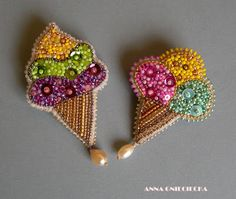 Handmade ice creams brooches. Materials: felt, beads, sequins, chains, crystals, pearls. By Anna Gnieciecka