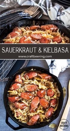 Flavors galore in this easy sauerkraut and kielbasa skillet with onion, apple and either sweet German beer like doppelbock or apple cider. Veal Recipes, Sausage Recipes, Recipes With Kielbasa, Cooking Recipes, Keilbasa And Sauerkraut, Sauerkraut Recipes, Iron Skillet Recipes, Cast Iron Recipes, Cast Iron Skillet