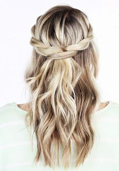 half-up woven braid wedding hairstyles More