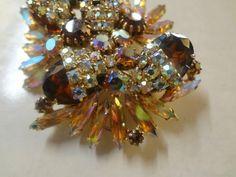 Alice Caviness Signed Flashy Brown Tan Aurora Rhinestone Brooch Pin EXC | eBay