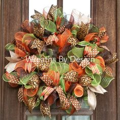 Items similar to Thanksgiving Wreath-Fall Wreath-Fall Wreath-Leopard Wreath-Fall decor-Ribbon Wrearh-Front Door Wreath Orange chocolate brown mesh on Etsy Fall Mesh Wreaths, Fall Deco Mesh, Autumn Wreaths, Door Wreaths, Wreath Fall, Burlap Wreaths, Thanksgiving Wreaths, Thanksgiving Decorations, Christmas Wreaths
