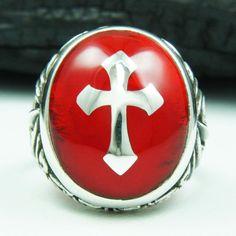 RED OVAL CROSS 925 STERLING SILVER US Size 9.75 MEN'S BIKER ROCKER GOTHIC RING  #Handmade