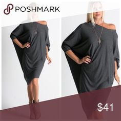 Boho Charcoal Loose Fit Dolman Dress S M L Charcoal loose fit dolman dress, asymmetric hem, knee length, can be worn off shoulder , wear as a top or dress!  Available in size Small, Medium, or Large. No trades, price firm unless bundled.  BUNDLE 3 OR MORE ITEMS FOR 15% OFF!! Boutique Dresses