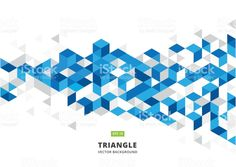 abstract blue geometric background with polygonal triangles, cube pattern.Template design with color triangle for brochure, leaflet, flyer design. Vector royalty-free abstract blue geometric background with polygonal triangles cube patterntemplate design with color triangle for brochure leaflet flyer design vector stock vector art & more images of backgrounds