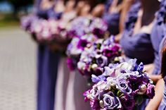 A Glitzy Beach Wedding with a Purple and Pink Color Palette : Brides