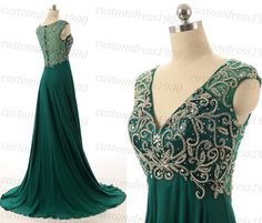 Handmade Sexy Green Beading/Crystal Chiffon Long Prom Dress V-Neck Cap Sleeve Formal Evening Gowns Green Bridesmaid Dresses LC154  1.About this