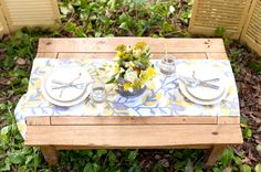 Yellow and gray table runner // photo by http://bumbyphotography.com, design by http://atlast-weddings.com