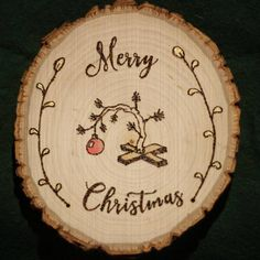 Choose from a few different styles of personalized Christmas ornaments for yourself or a loved one! These are custom handmade wood-burned Christmas ornaments on basswood rounds. Each ornament comes with a small festive ribbon bow on top, as well as an ornament hook, so its ready to go, Scroll through the photos to see the different designs: Charlie Brown Tree, Reindeer in the snow, Silent Night (all is calm, all is bright), Bear in the snow, Let it Snow, and Eat Drink and be Merry! All…