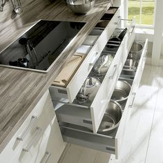 Cute Perfect Plan Kitchen Cabinet Drawer Great Finishing Interior Cooking Room Tools Aluminium Pan