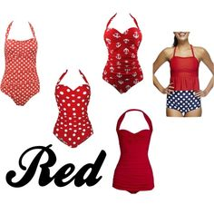 Red Swimwear by khill-iv on Polyvore featuring Norma Kamali