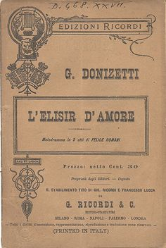 The front page of the opera libretto, published by G. Ricordi & Co.