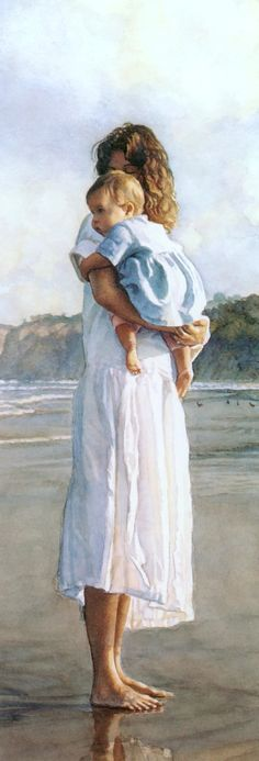 """Steve Hanks watercolor - """"In Mothers Arms"""". Steve Hanks is top notch figure painter whose watercolor compositions are most often of women and children and beaches. His work invites us to feel a variety of emotions but tenderness most often comes to mind. Watercolor Artists, Watercolor Paintings, Watercolors, Art Amour, Ouvrages D'art, Fine Art, Mother And Child, Mother Art, Art And Illustration"""