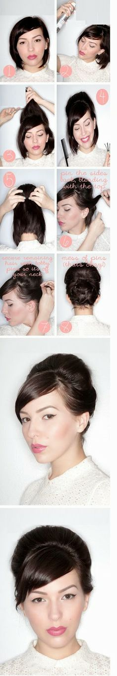 Vintage Hairstyles Updo Faux Updo Tutorial For Short Hair I need to buy some cute scarfs to do this - I've been getting a lot of inquiries about how I style my hair, now that it's short. So I put together this faux updo tutorial for short hair. Hair Tutorials For Medium Hair, Medium Hair Styles, Short Hair Styles, Hairstyle Tutorials, Vintage Hairstyles, Bob Hairstyles, Bandana Hairstyles, Trendy Hairstyles, Creative Hairstyles
