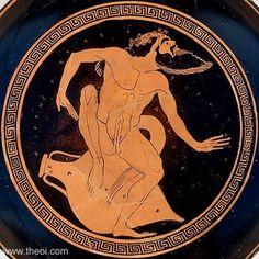 Satyr with wine amphora   Greek vase, Athenian red figure kylix