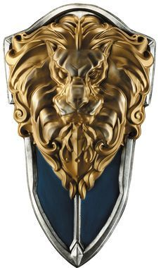 Shield modeled after weapon used in the new movie Warcraft based off of the Worlds of Warcraft game. Plastic. Shield measures 29 inches high and 16.25 inches wide.