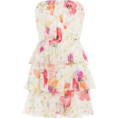 Ralph Lauren Polo Printed Silk Chiffon Bandeau Dress ($200) ❤ liked on Polyvore featuring dresses, multicolored, white dress, white floral print dress, bandeau dress, slimming dresses and floral day dress