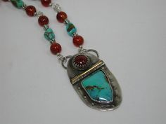 Sterling Silver Turquoise and Carnelian by SilverSeahorseDesign
