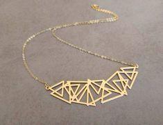 Triangle Necklace, Geometric Necklace, Geometric Jewelry, Hamsa Jewelry, Etsy Jewelry, Handmade Jewelry, Jewellery, Delicate Gold Necklace, Locs