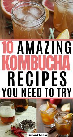 Kombucha has many health benefits! Here are 10 amazing recipes for great kombucha flavours! Kombucha Benefits, How To Brew Kombucha, Kombucha Tea, Health Benefits, Kombucha Flavors, Probiotic Drinks, Alcoholic Drinks, Root Recipe, Recipe For 4