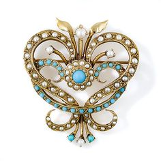 Victorian Retrospective Turquoise and Seed Pearl Brooch. Circa 1940s