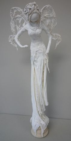 Inspiration ( thinking wire frame, assorted textured fabric, plaster of paris ):