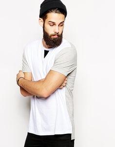 ASOS – Langes T-Shirt in Skater-Passform mit Kontrasteinsätzen und gestuftem Saum