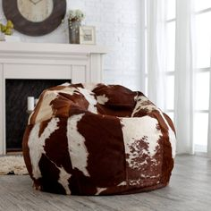 Infuse your modern, urban decor with a bit of country-living chic by adding the Luxury Leather Bean Bag Chair to your space. Decor, Leather Furniture, Urban Decor, Kids Chairs, Chair, Home Decor, Cowhide Furniture, Leather Bean Bag Chair, Western Home Decor