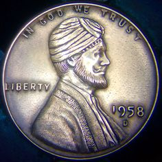 "CHRIS ""DECHRISTO"" DEFLORENTIS HOBO PENNY - TURBAN CHARGED LINCOLN - 1958 LINCOLN WHEAT CENT"