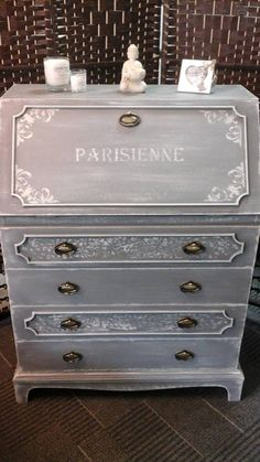 Bureau painted in Frenchic Chalk & Mineral Paint. Colours are Lady Grey dry brushed with Sugar Puff. French stencil detail added to front.  #hastobefrenchic