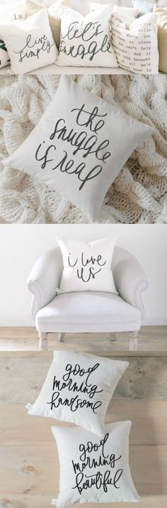 Confession: I have a throw pillow addiction. And THIS shop has the CUTEST throw pillows EVER! They're perfect for your bed in your bedroom or the couch in your living room. The hardest part is picking- I seriously want them ALL!  {aff}