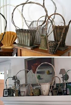 I love these vintage funeral baskets...I have several of them.