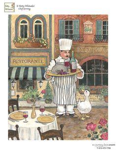 Chef with Wine Art by Betty Whiteaker Chef Kitchen Decor, Kitchen Art, Decoupage Vintage, Decoupage Paper, Art Du Vin, Foto Transfer, Creation Photo, Wine Art, Le Chef